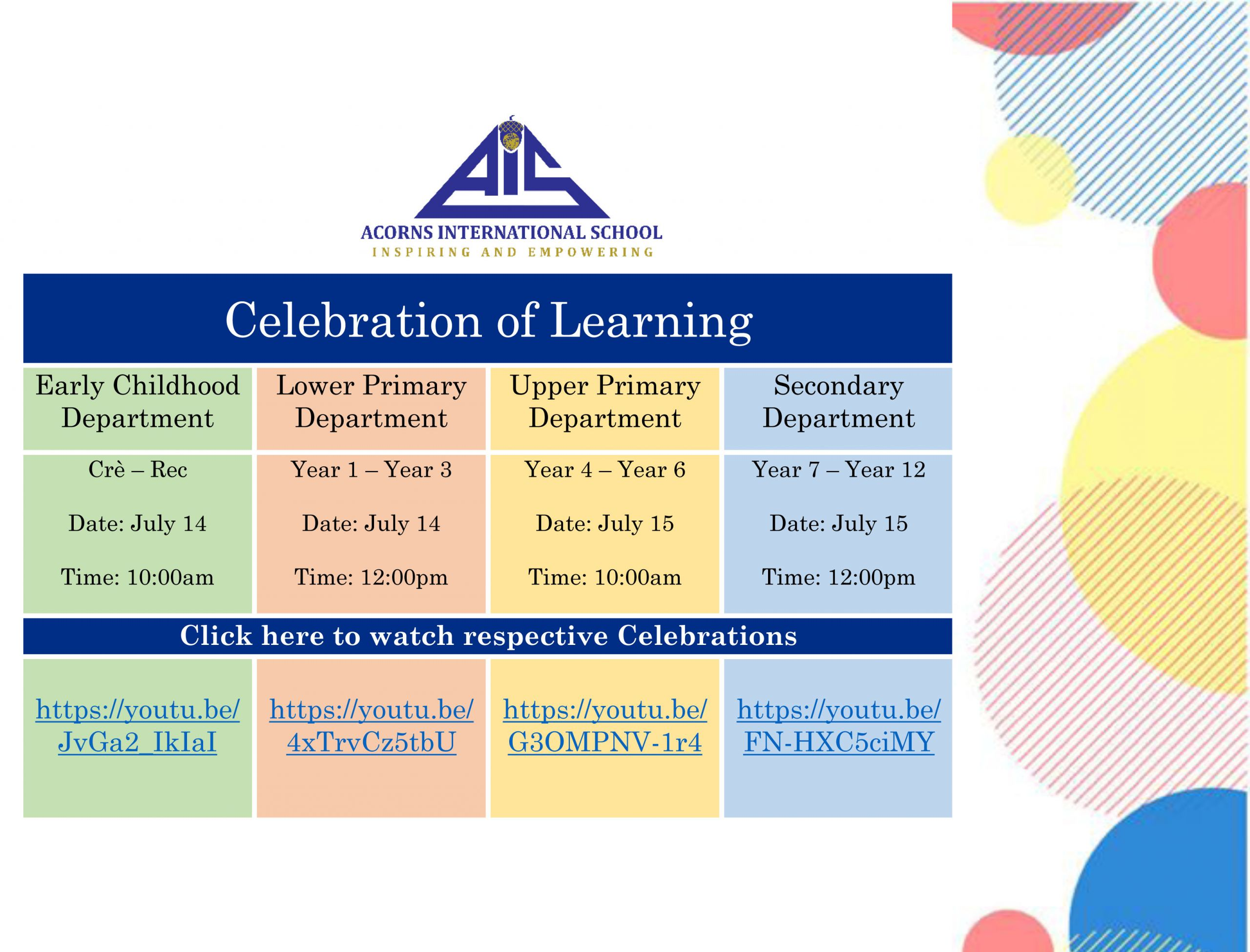 Upper Primary Virtual Celebration of Learning